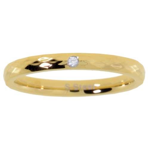 Bague acier Acier inoxydable Revêtement d´or (doré) Cristal
