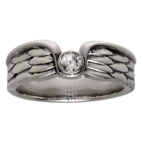 Edelstahlring Edelstahl Kristall Flügel