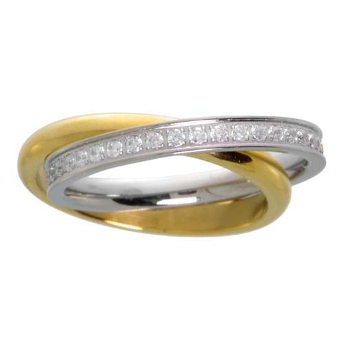 Edelstahlring Edelstahl Gold-Beschichtung (vergoldet) Kristall Ewig Schlaufe Endlos