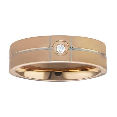 Edelstahlring Edelstahl PVD Beschichtung (goldfarbig) Kristall Streifen Rillen Linien