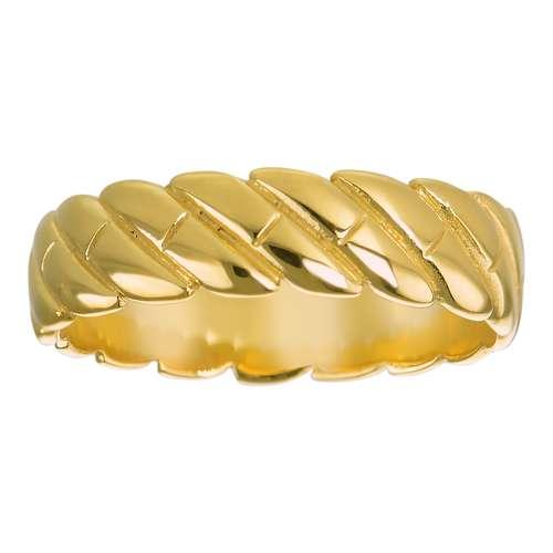 Fingerring Edelstahl PVD Beschichtung (goldfarbig) Spirale Ewig Schlaufe Endlos Streifen Rillen Linien