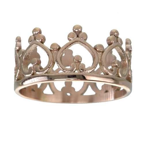 Anello Acciaio inox Rivestimento PVD (colore oro) Corona Cuore Amore