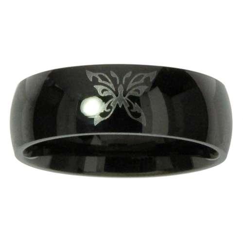 Bague de doigt Acier inoxydable Revêtement PVD noir Papillon