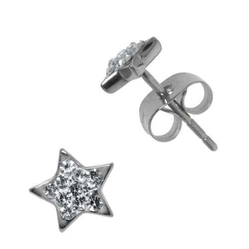 Earrings Stainless Steel Surgical Steel 316L Crystal Star