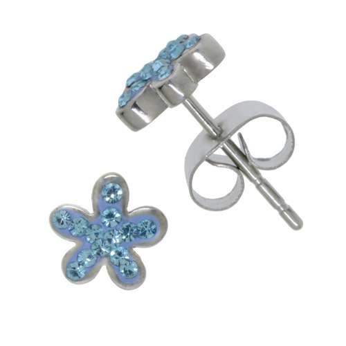 Ohrringe Chirurgenstahl 316L Kristall Blume