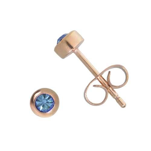 Ohrstecker Chirurgenstahl 316L PVD Beschichtung (goldfarbig) Kristall