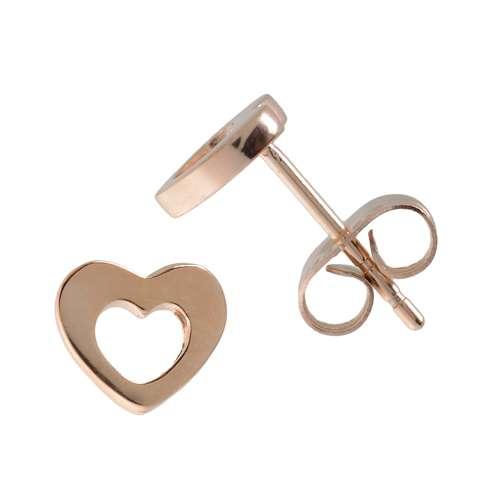 oorstekers Staal PVD laag (goudkleurig) hart liefde