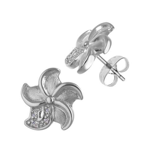 Ohrstecker Edelstahl Kristall Blume