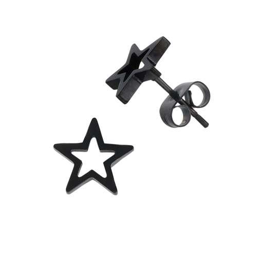 Ohrstecker Chirurgenstahl 316L PVD Beschichtung (schwarz) Stern