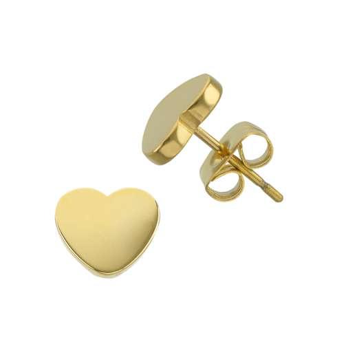 Ohrstecker Edelstahl PVD Beschichtung (goldfarbig) Herz Liebe