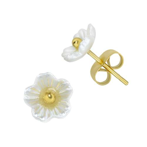 Ohrstecker Edelstahl PVD Beschichtung (goldfarbig) Resin Blume