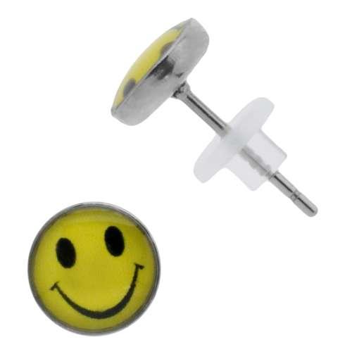 Ohrstecker Chirurgenstahl 316L PVC Epoxiharz Smiley Smilie Smily