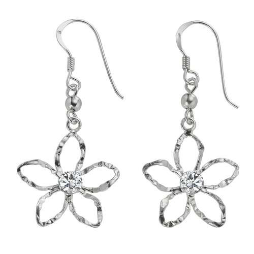 Ohrhänger Silber 925 Kristall Blume
