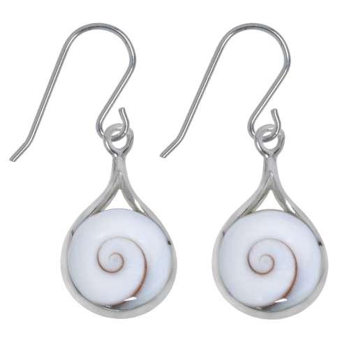 Ohrhänger rhodiniertes Silber 925 Shiva´s Eye Muschel Spirale Tropfen Tropfenform Wassertropfen