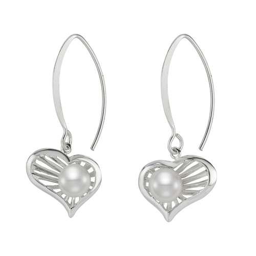 Ohrringe Silber 925 Süsswasserperle Herz Liebe