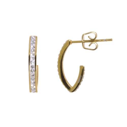 Ohrringe Chirurgenstahl 316L Kristall Gold-Beschichtung (vergoldet) Streifen Rillen Linien