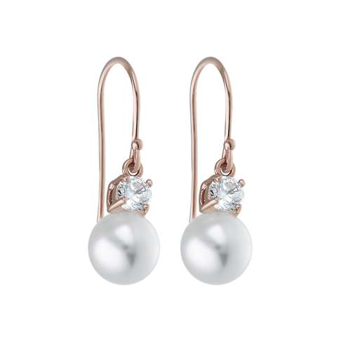 Ohrringe Silber 925 Synthetische Perle Zirkonia Gold-Beschichtung (vergoldet)