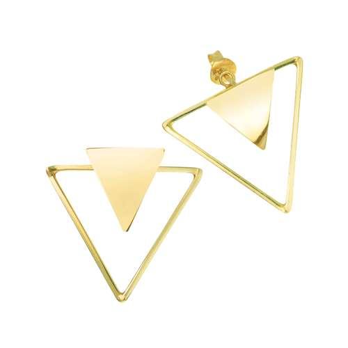Pendientes Plata 925 Revestido de oro Triángulo