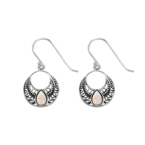 Ohrhänger Synthetischer Opal Silber 925 Tropfen Tropfenform Wassertropfen Tribal_Zeichnung Tribal_Muster