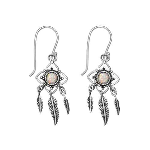 Ohrhänger Synthetischer Opal Silber 925 Feder Blume