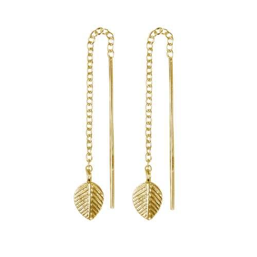 Ohrhänger Silber 925 Gold-Beschichtung (vergoldet) Blatt Pflanzenmuster Florales_Muster
