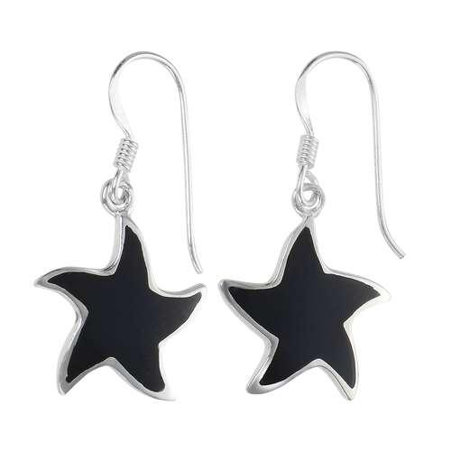 Ohrhänger Silber 925 Onyx Seestern Stern
