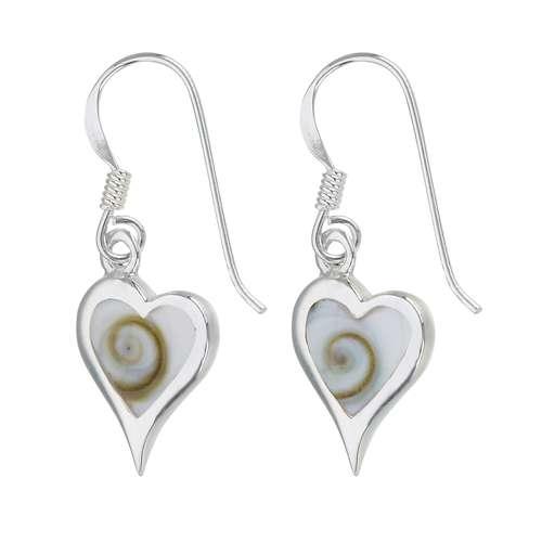 Ohrhänger Silber 925 Shiva´s Eye Muschel Herz Liebe