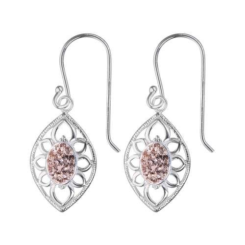 Ohrhänger Silber 925 Swarovski Kristall Blatt Pflanzenmuster Florales_Muster
