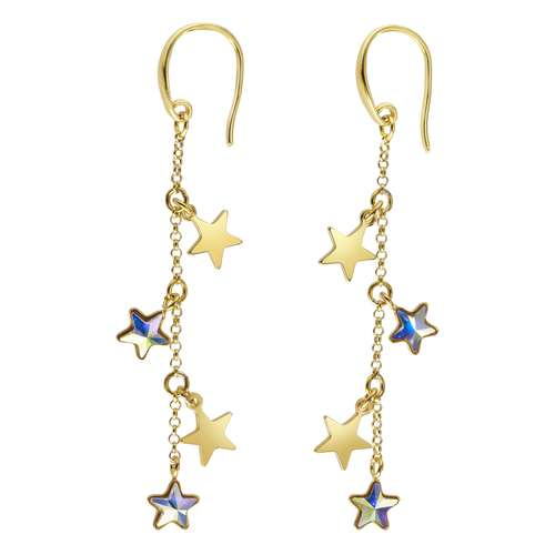 Ohrhänger Silber 925 Gold-Beschichtung (vergoldet) Swarovski Kristall Stern
