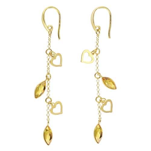 Ohrstecker Silber 925 Gold-Beschichtung (vergoldet) Swarovski Kristall Herz Liebe
