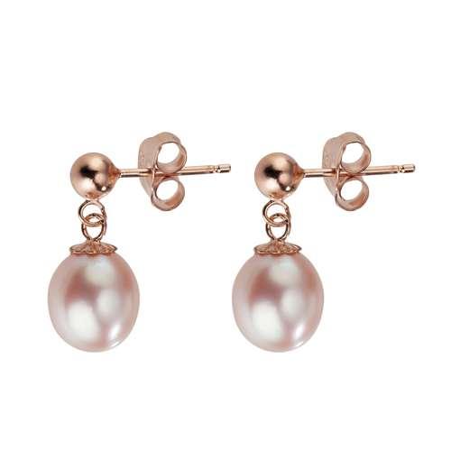 Ohrringe Silber 925 PVD Beschichtung (goldfarbig) Süsswasserperle