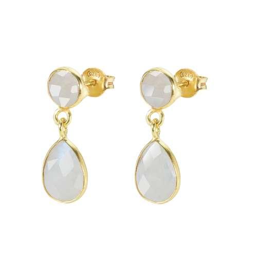 Shrestha Designs Ohrhänger Silber 925 Gold-Beschichtung (vergoldet) Regenbogen Mondstein