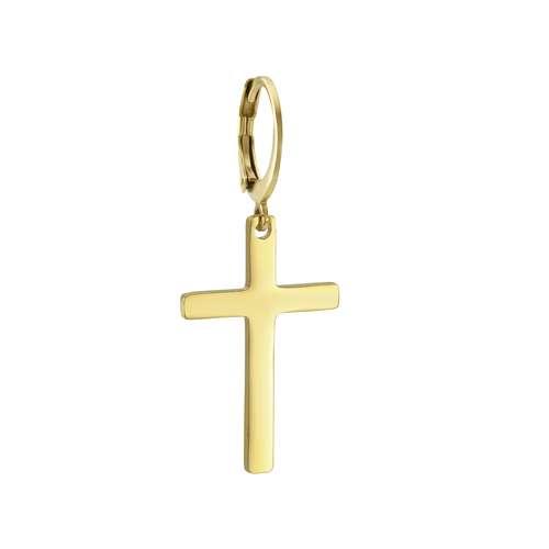 Ohrhänger Chirurgenstahl 316L PVD Beschichtung (goldfarbig) Kreuz