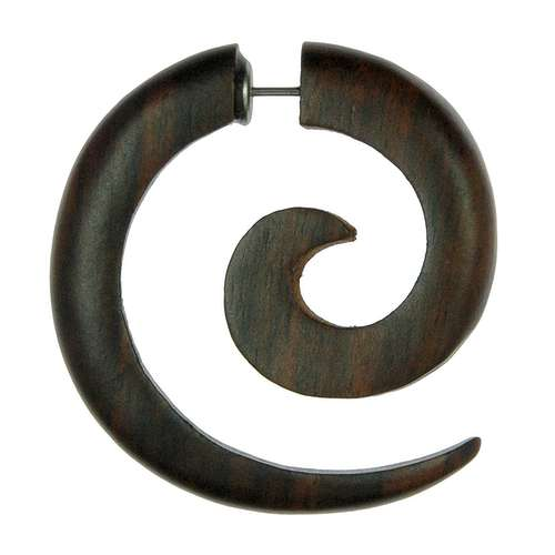 Fake-Plug Chirurgenstahl 316L Holz Spirale
