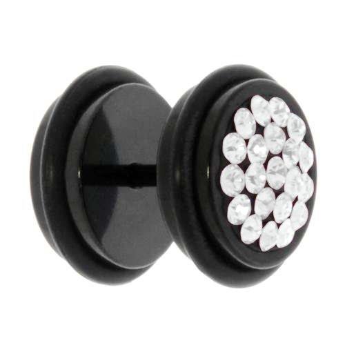 Fake-Plug Chirurgenstahl 316L PVD Beschichtung (schwarz) Swarovski Kristall PVC