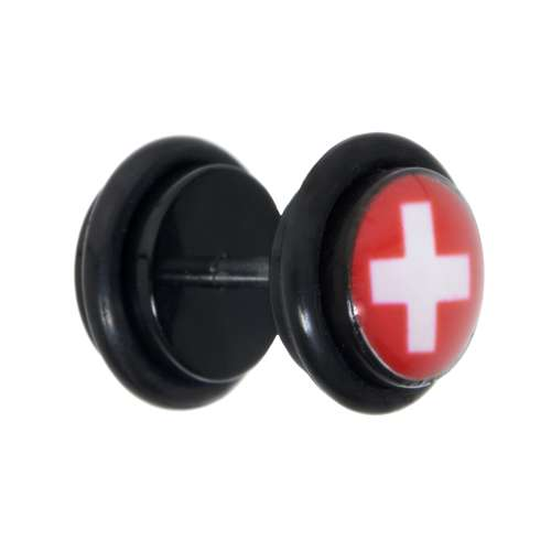 Fake-Plug Acrylglas Chirurgenstahl 316L PVC Kreuz Schweiz Schweizerkreuz