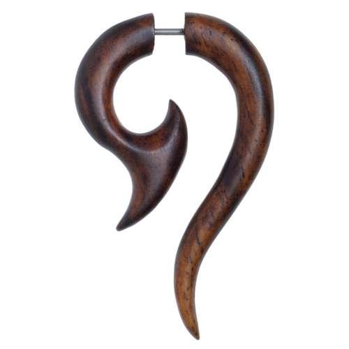 Fake-Plug Chirurgenstahl 316L Sonoholz Tribal_Zeichnung Tribal_Muster Spirale