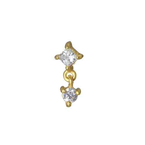 Dermal-Anchor Aufsatz Chirurgenstahl 316L PVD Beschichtung (goldfarbig) Kristall