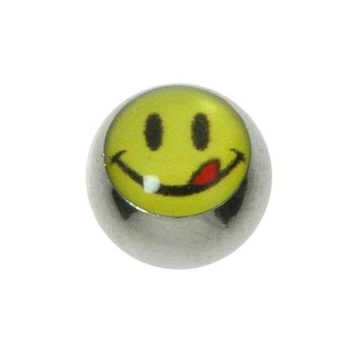 Piercingverschluss Chirurgenstahl 316L Epoxiharz Smiley Smilie Smily
