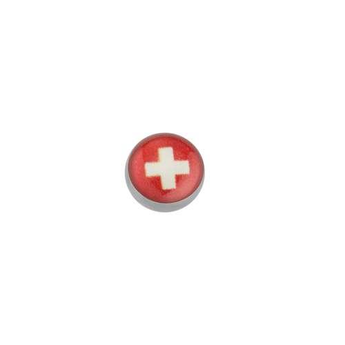 Piercingverschluss Chirurgenstahl 316L Epoxiharz Kreuz Schweiz Schweizerkreuz