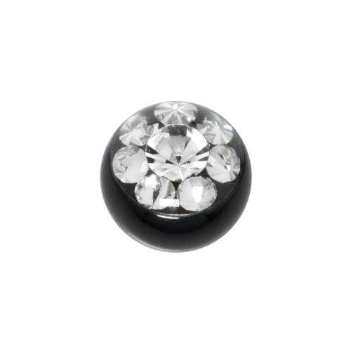 Chiusura piercing Metallo chirurgico 316L Cristallo Swarovski Rivestimento PVD (nero) Fiore