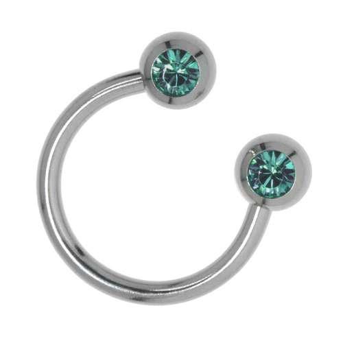 Piercingstab aus Chirurgenstahl 316L mit Swarovski Kristall. Gewinde:1,6mm. Durchmesser:12mm. Ball-Durchmesser:5mm. Gewicht:1,32g. Chirurgenstahl 316L Swarovski Kristall