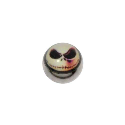 1.2mm Piercing-Kugel Chirurgenstahl 316L Glas Totenkopf Schädel Knochen