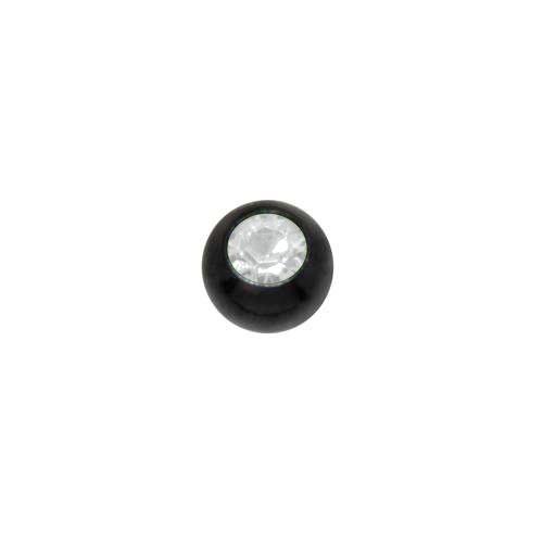 1.2mm Piercing-Kugel Kristall Chirurgenstahl 316L PVD Beschichtung (schwarz)