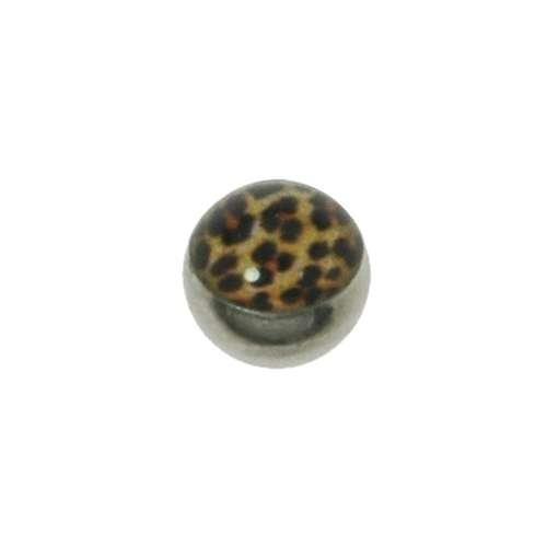 1.2mm Piercing-Kugel Chirurgenstahl 316L Glas Tierfell Tiermuster Fellmuster