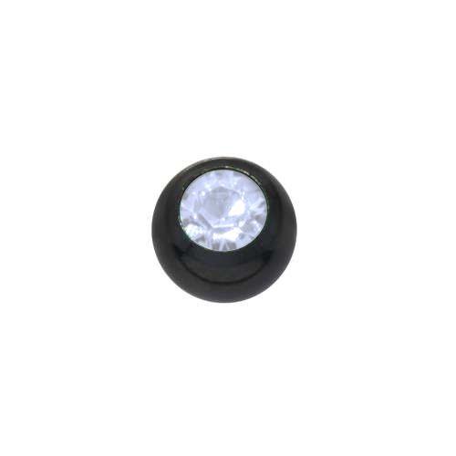 1.2mm Piercing-Kugel Swarovski Kristall Chirurgenstahl 316L PVD Beschichtung (schwarz)
