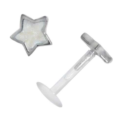 Piercing Bioplast Silber 925 Email Stern