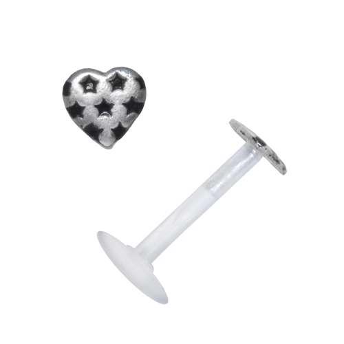 Piercing Bioplast Silber 925 Email Herz Liebe Stern
