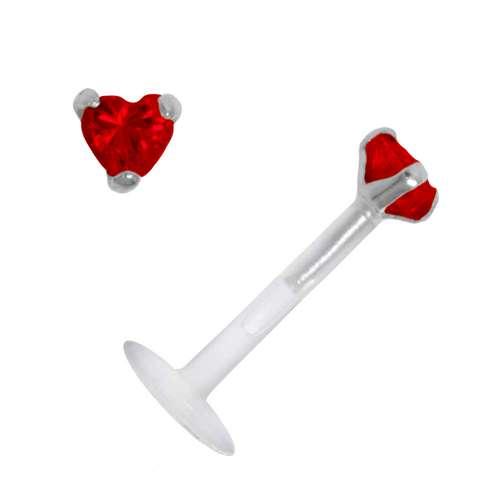 Piercing für Lippe/Tragus Bioplast Silber 925 Zirkonia Herz Liebe