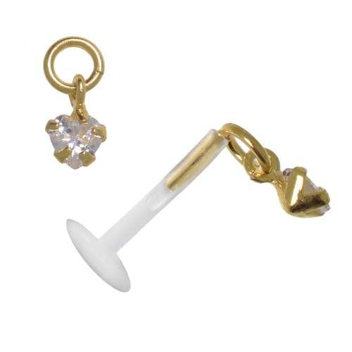 Piercing für Lippe/Tragus Bioplast Silber 925 Gold-Beschichtung (vergoldet) Zirkonia Herz Liebe